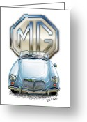 British Digital Art Greeting Cards - MGA Sports Car in Light Blue Greeting Card by David Kyte