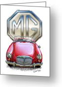 Red Sportscar Greeting Cards - MGA Sports Car in Red Greeting Card by David Kyte