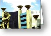 Mgm Greeting Cards - MGM Lion In Las Vegas Greeting Card by Will Borden