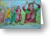 Workers Drawings Greeting Cards - MGNREGA workers Greeting Card by Archit Singh