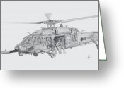 Aviation Greeting Cards - MH60 with gun Greeting Card by Nicholas Linehan