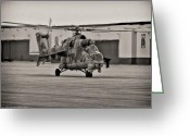 Whiteman Photo Greeting Cards - Mi-24 Hind D  Greeting Card by Lamyl Hammoudi