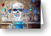 Ghosts Greeting Cards - Mi Cafe con Leche Greeting Card by Heather Calderon