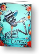 Kitchen Greeting Cards - Mi Cerveza Greeting Card by Heather Calderon