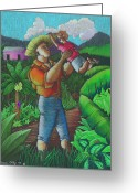 Puerto Rico Drawings Greeting Cards - Mi futuro y mi tierra Greeting Card by Oscar Ortiz