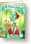 Cherries Greeting Cards - Mi Pina Colada Greeting Card by Heather Calderon