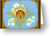 Mayan Mythology Greeting Cards - Mi Sol Greeting Card by Roberto Valdes Sanchez