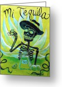 Day Of The Dead Greeting Cards - Mi Tequila Greeting Card by Heather Calderon