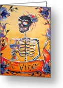 Kitchen Decor Greeting Cards - Mi Vino Greeting Card by Heather Calderon