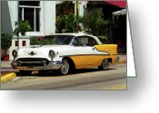 Street Greeting Cards - Miami Beach Classic Car with Watercolor Effect Greeting Card by Frank Romeo