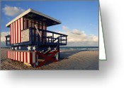 Surge Greeting Cards - Miami Beach Watchtower Greeting Card by Melanie Viola