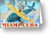 Plane Drawings Greeting Cards - Miami-Cuba Greeting Card by Glenda Zuckerman