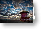 Sunrise Greeting Cards - Miami Dawn Greeting Card by David Bowman