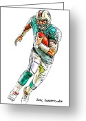 Miami Dolphins Greeting Cards - Miami Dolphins  Chad Henne Greeting Card by Jack Kurzenknabe