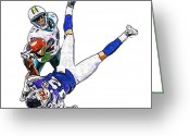 Miami Dolphins Greeting Cards - Miami Dolphins Vontae Davis and Minnesota Vikings Percy Harvin  Greeting Card by Jack Kurzenknabe