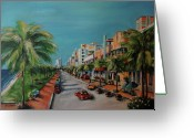 Streetscape Greeting Cards - Miami for Daisy Greeting Card by Dyanne Parker