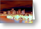 Florida Bridge Greeting Cards - Miami Heat Greeting Card by Molly McPherson