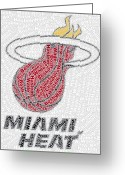 Lebron Greeting Cards - Miami Heat Starting Five Mosaic Greeting Card by Paul Van Scott