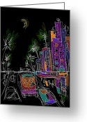 Hustle Bustle Greeting Cards - Miami Greeting Card by Russell Pierce