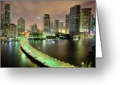 Street Light Greeting Cards - Miami Skyline At Night Greeting Card by Steve Whiston - Fallen Log Photography