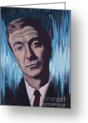 Www.artworkxofmann.com Mixed Media Greeting Cards - Michael Caine Greeting Card by James Flynn