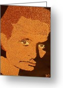 Portrait Reliefs Greeting Cards - Michael Douglas Greeting Card by Kovats Daniela