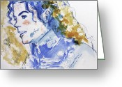 Michael Jackson Greeting Cards - Michael Jackson - Bless you Greeting Card by Hitomi Osanai