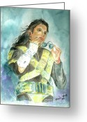 Michael Jackson Greeting Cards - Michael Jackson - Dangerous Tour  Greeting Card by Nicole Wang