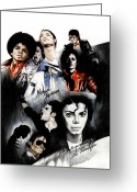 Star Greeting Cards - Michael Jackson - King of Pop Greeting Card by Lin Petershagen