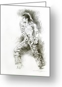 Michael Jackson Greeting Cards - Michael Jackson - Onstage Greeting Card by David Lloyd Glover