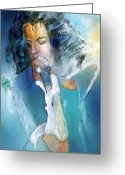 Michael Jackson Greeting Cards - Michael Jackson 04 Greeting Card by Miki De Goodaboom