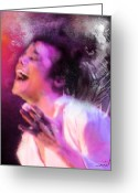 Michael Jackson Greeting Cards - Michael Jackson 11 Greeting Card by Miki De Goodaboom