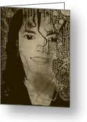Michael Jackson Photo Greeting Cards - Michael jackson 7 exibition 1995 Greeting Card by Bers Grandsinge