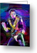 Michael Jackson Greeting Cards - Michael Jackson 93 Moves Greeting Card by David Lloyd Glover