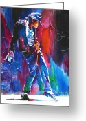 Featured Artist Painting Greeting Cards - Michael Jackson Action Greeting Card by David Lloyd Glover