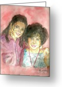Michael Jackson Greeting Cards - Michael Jackson and Elizabeth Taylor Greeting Card by Nicole Wang