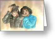 Michael Jackson Greeting Cards - Michael Jackson and Oprah Greeting Card by Nicole Wang