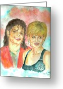 Michael Jackson Greeting Cards - Michael Jackson and Princess Diana Greeting Card by Nicole Wang