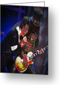 Entertainers Greeting Cards - Michael Jackson and Slash Greeting Card by Byron Fli Walker