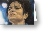 Michael Jackson Greeting Cards - Michael Jackson Greeting Card by Angela Hannah