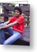 Michael Jackson Greeting Cards - Michael Jackson at home. Greeting Card by Chris Walter