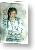Michael Jackson Greeting Cards - Michael Jackson Bad Tour Greeting Card by Nicole Wang