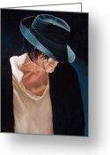 Michael Jackson Greeting Cards - Michael Jackson  Black Hat Greeting Card by Douglas Fincham