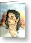 Michael Jackson Greeting Cards - Michael Jackson Black or White Greeting Card by Nicole Wang