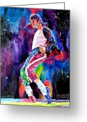Featured Artist Painting Greeting Cards - Michael Jackson Dance Greeting Card by David Lloyd Glover