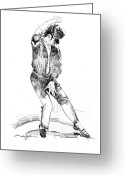 Michael Jackson Greeting Cards - Michael Jackson Dancer Greeting Card by David Lloyd Glover