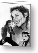 Celebrities Drawings Greeting Cards - Michael Jackson Faces to Remember Greeting Card by Peter Piatt