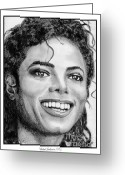 Michael Jackson Greeting Cards - Michael Jackson in 1988 Greeting Card by J McCombie