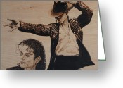 Singer Pyrography Greeting Cards - Michael Jackson Greeting Card by Michael Garbe