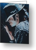 Artist Greeting Cards - Michael Jackson Greeting Card by Mikayla Henderson